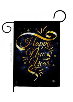 Gold Happy New Year Garden Flag | New Year's Flags | Garden Flags