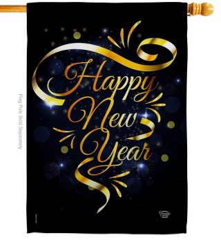 Gold Happy New Year House Flag | New Year's Flags | House Flags | Flag
