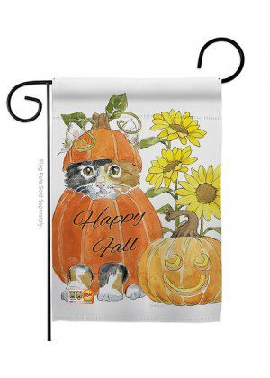 Happy Pumpkin Kitty Garden Flag | Fall Flags | Garden Flags | Animal Flag