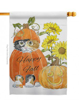 Happy Pumpkin Kitty House Flag | Fall Flags | Animal Flags | House Flag