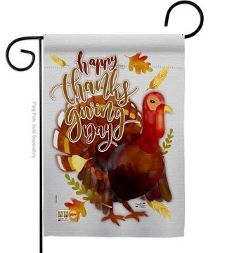 Happy Thanksgiving Day Turkey Garden Flag | Thanksgiving Flags | Flags