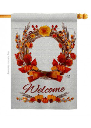 Harvest Wreath House Flag | Fall Flags | Garden Flags | Welcome Flags