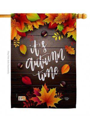 It's Autumn Time on Wood House Flag | Fall Flags | Garden Flags | Flags