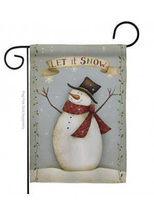 Let It Snow Happy Snowman Garden Flag | Winter Flags | Garden Flags