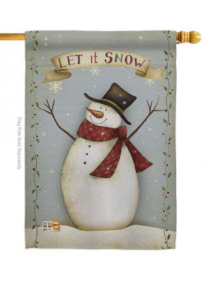 Let It Snow Happy Snowman House Flag | Christmas Flags | House Flags
