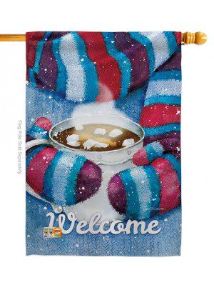 Mittens and Cocoa House Flag | Winter Flags | House Flag | Welcome Flag
