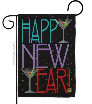 New Year Martini Garden Flag | New Year's Flags | Garden Flags | Flags