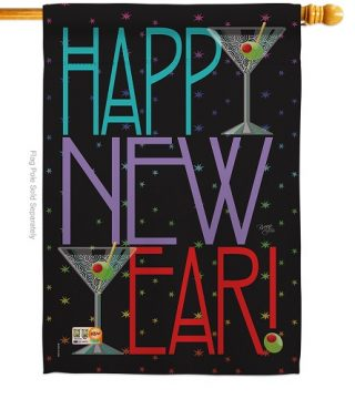 New Year Martini House Flag | New Year's Flags | House Flags | Yard Flag