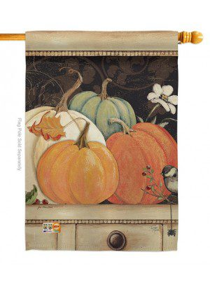 October Pumpkins House Flag | Fall Flags | Garden Flags | Yard Flags