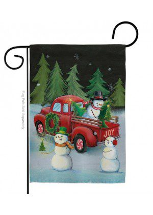 Picking Christmas Tree Garden Flag | Winter Flag | Snowman Garden Flag