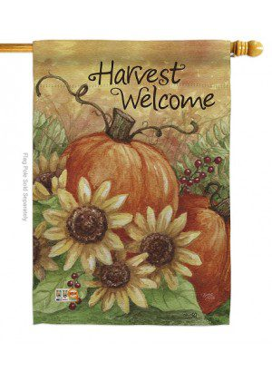 Pumpkin Sunflower House Flag | Fall Flags | Garden Flags | Welcome Flag