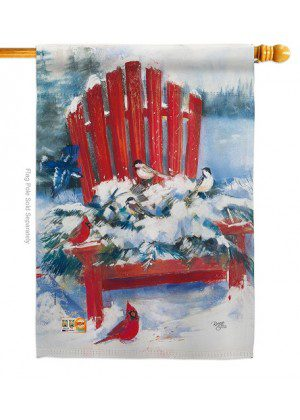 Red Chair in Winter House Flag | Winter Flags | House Flags | Bird Flags