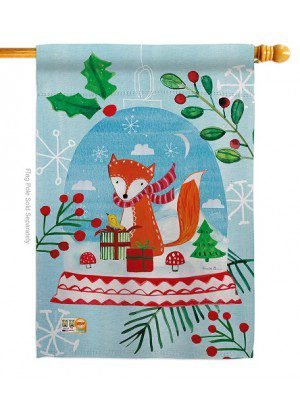 Snow Globe Fox House Flag | Winter Flags | House Flags | Christmas Flag