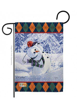 Snowman Golf Garden Flag | Christmas Flags | Two Sided Flag | Yard Flag