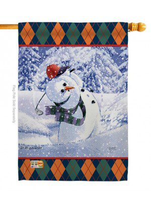 Snowman Golf House Flag | Christmas Flags | Two Sided Flags | Yard Flag