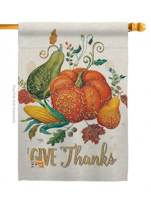 Suzani Give Thanks House Flag | Thanksgiving Flags | Inspirational Flags