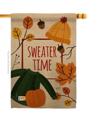 Sweater Time House Flag | Fall Flags | Garden Flags | Yard Flags | Flags