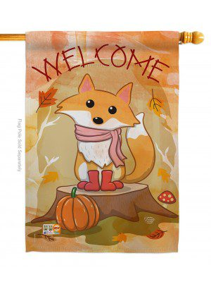 Welcome Fall Foxy House Flag | Fall Flags | Garden Flags | Welcome Flag