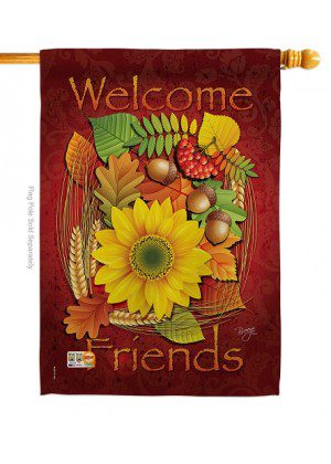 Welcome Friends Fall House Flag | Fall Flag | House Flag | Welcome Flag