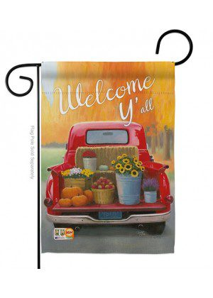 Welcome Harvest Truck Garden Flag | Fall Flags | Farmhouse Flags
