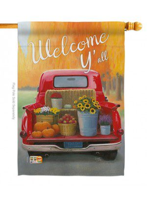 Welcome Harvest Truck House Flag | Fall Flags | Flags | Farmhouse Flags