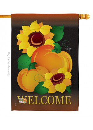 Welcome Pumpkin House Flag | Fall Flags | House Flags | Yard Flag | Flag