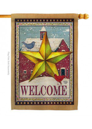 Welcome Winter Farm House Flag   Winter Flags   Welcome Flags   Flags