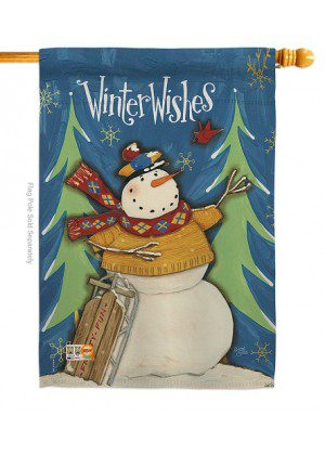 Winter Wishes Snowman House Flag | Winter Flag | Snowman House Flag