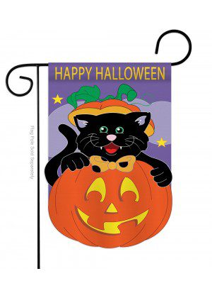 Black Cat Garden Flag | Hallloween Flags | Applique Flags | Garden Flags