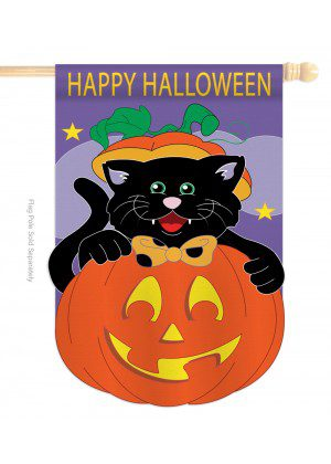 Black Cat House Flag | Halloween Flags | Applique Flags | House Flags