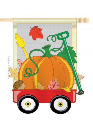 Fall Pumpkins Hand Wagon House Flag | Fall Flags | Applique Flags
