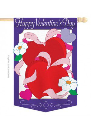 Hearts House Flag | Valentine's Day Flags | Applique Flags | Valentine Flag