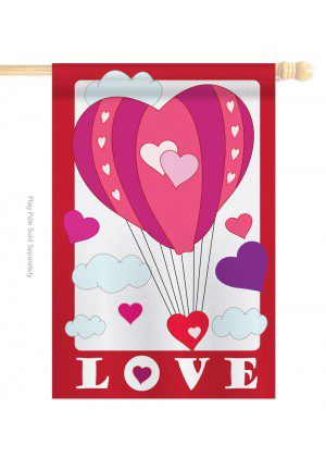 ve Balloon House Flag | Valentine's Day Flags | Applique Flags | Flags