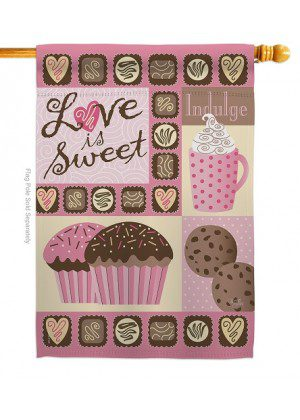Love Is Sweet House Flag | Valentine's Day Flags | Valentine Flags