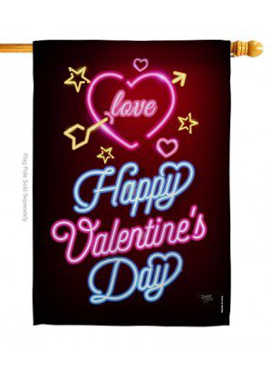 Neon Valentines Love House Flag | Valentine's Day Flags | Valentine Flags