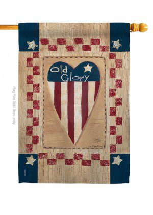 Old Glory Heart House Flag | House Flags | Patriotic Flags | Cool Flags