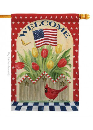 Patriotic Flowers House Flag | House Flags | Patriotic Flags | Cool Flags