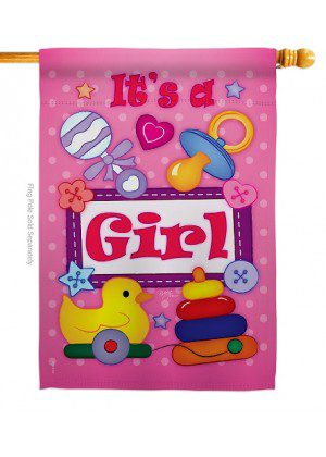 Baby Girl House Flag | Celebration Flags | Yard Flags | House Flags | Flag