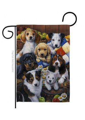 Country Bumpkin Puppies Garden Flag | Animal Flags | Garden Flags