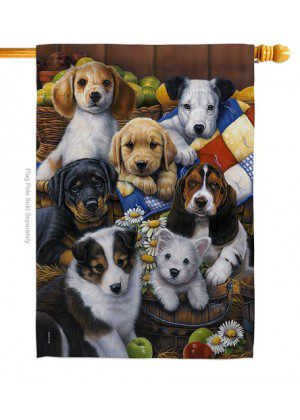 Country Bumpkin Puppies House Flag | House Flags | Animal Flags | Flags