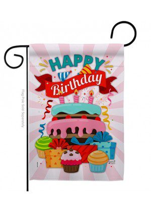 Happy Birthday Cake Garden Flag | Celebration Flags | Garden Flags