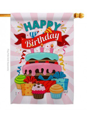 Happy Birthday Cake House Flag | Celebration Flags | House Flags | Flags