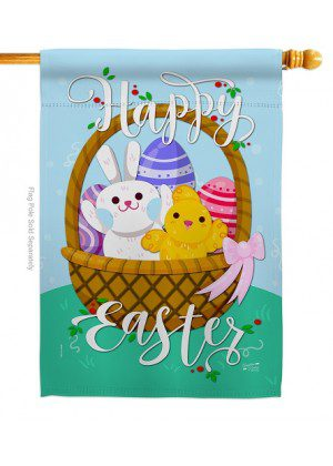 Happy Easter Basket House Flag | Easter Flags | House Flags | Yard Flags
