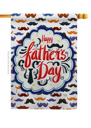 Happy Father's Day Mustache House Flag | Father's Day Flags | Yard Flag