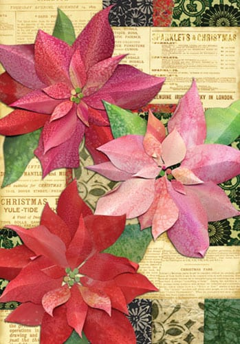 Yuletide Poinsettias House Flag | House Flags | Garden House Flags