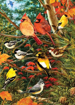 Songbirds on Pine Flag | Decorative Flags | Flags | Garden House Flags
