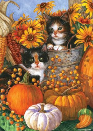 Fall Kittens House Flag | Garden Flag | House Flags | Garden House Flags