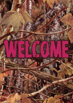 Pink Camo Welcome Flag | Decorative Flags | Flags | Garden House Flags