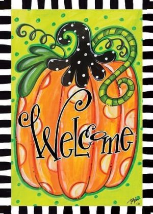 Welcome Polka Dot Pumpkin Flag | Halloween Flags | Two-sided Flags