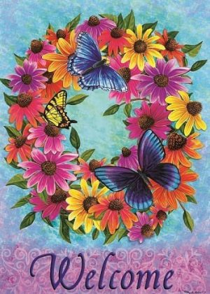 Butterfly Wreath Flag | Spring Flags | Double Sided Flags | Welcome Flags